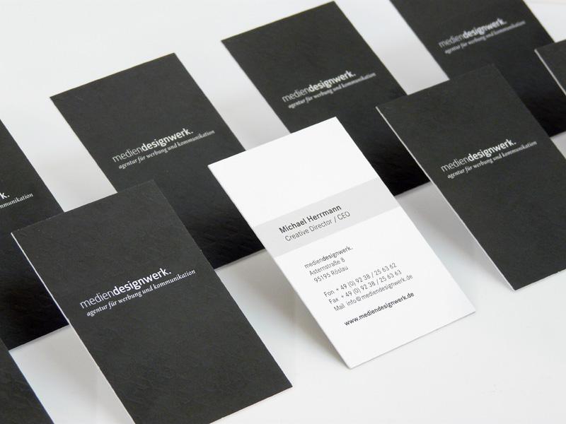 "Look-alike-Letterpress"" Visitenkarten – Werbeagentur mediendesignwerk"