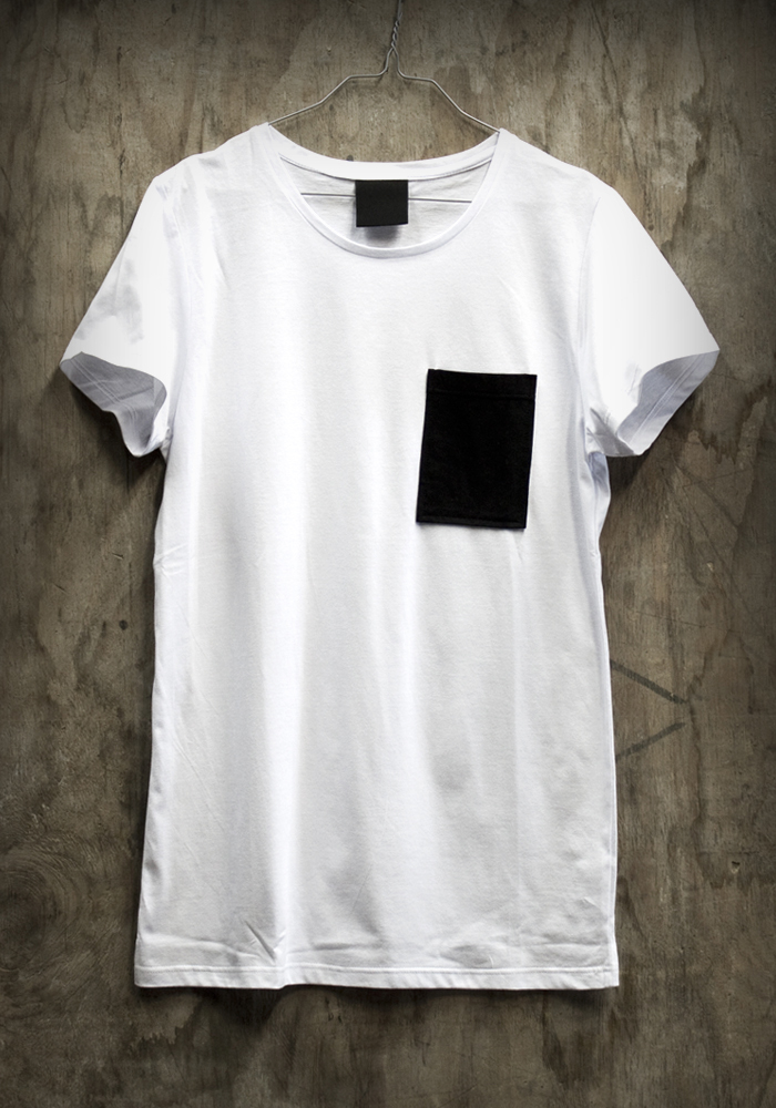 White shirt black pocket artee shirt for Pocket t shirt printing