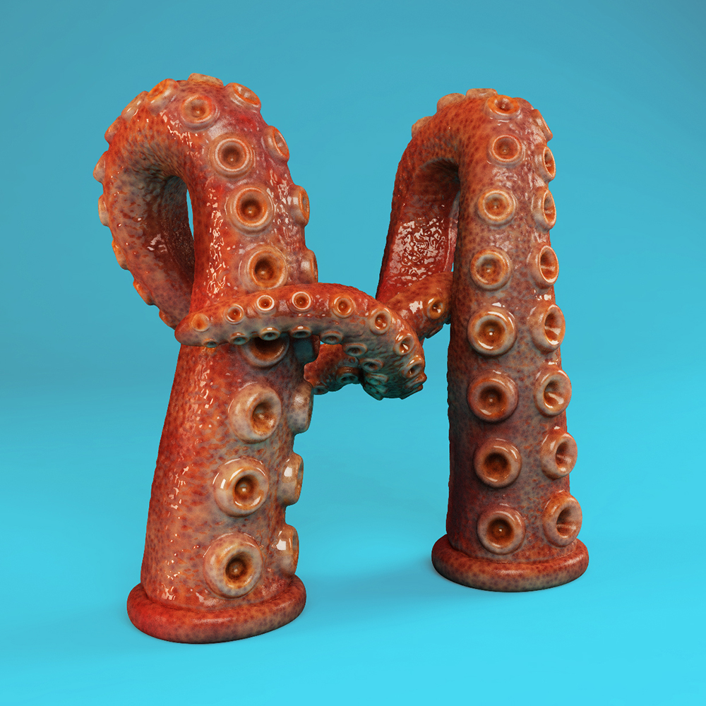 Letter Made Out Of Objects.The Sculpted Alphabet