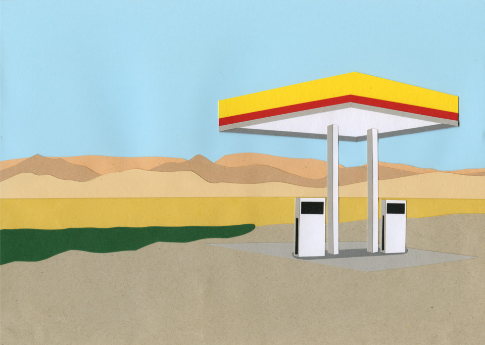 gas station death valley handmade cut out. Black Bedroom Furniture Sets. Home Design Ideas