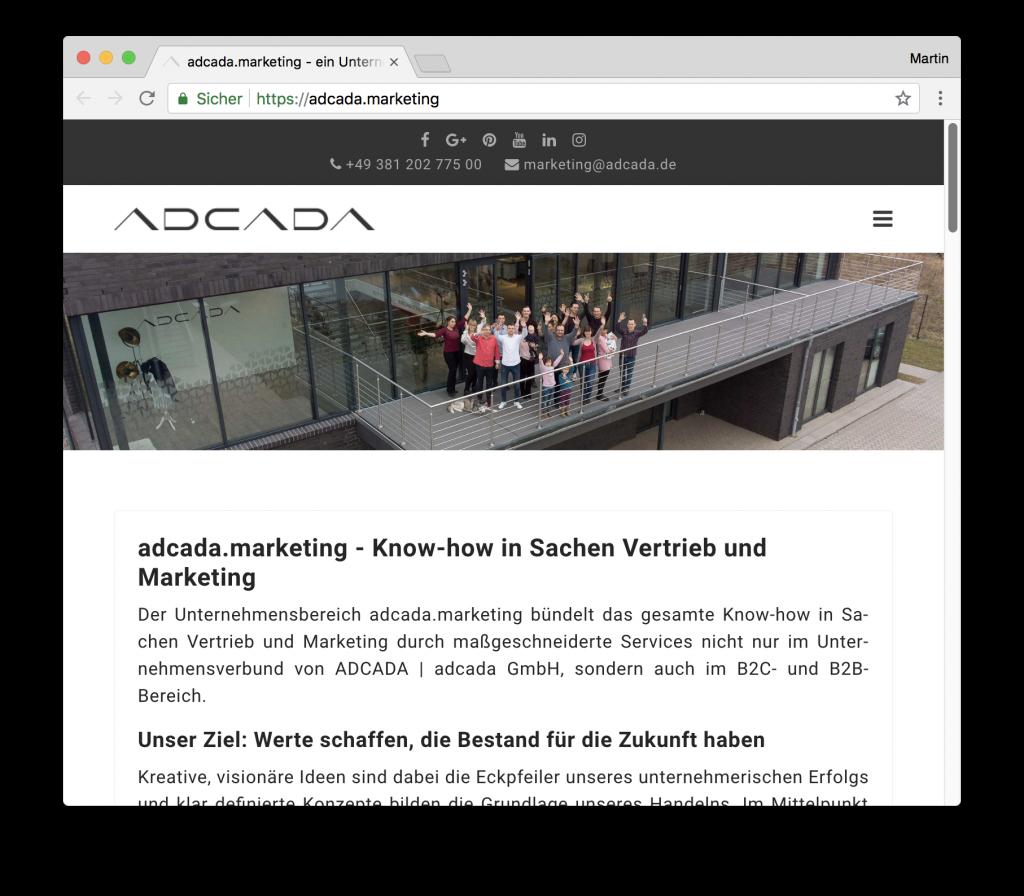 Adcada Webseite