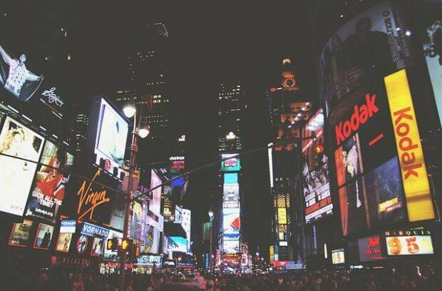 Markenlogos auf dem Times Square